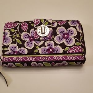 Vera Bradley Plum Petals turn lock wallet